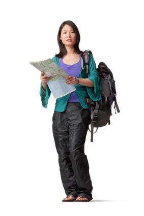 woman backpacking, travel